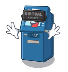 virtual reality atm machine next to character vector image