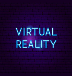 Virtual reality neon sign vector