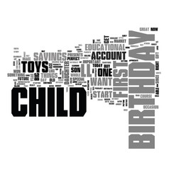 what to buy for your childs first birthday text vector image