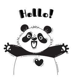 With joyful panda who shouts - hello vector
