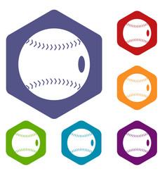 baseball ball icons set hexagon vector image vector image