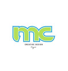 Blue green alphabet letter mc m c logo icon design vector