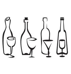 bottles and glasses set vector image vector image