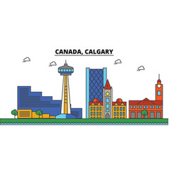 canada calgary city skyline architecture vector image