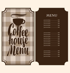 coffee house menu with cup and price vector image