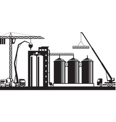 construction of grain silo vector image vector image