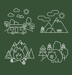 forest activity linear icons thin line vector image vector image