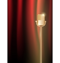 Gold old microphone against the illuminated red vector