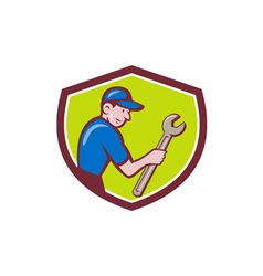 Handyman Holding Spanner Crest Cartoon vector image vector image