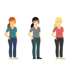 set - smiling cute white woman girl in different vector image