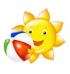 sun with beach ball vector image vector image