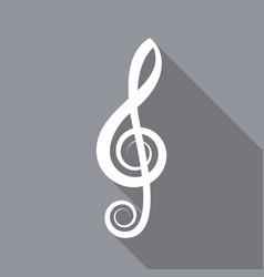 white treble clef flat icon vector image