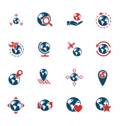 globes icon set vector image vector image