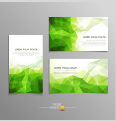 green abstract business card templates vector image