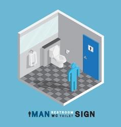 man toilet sign in restroom isometric vector image
