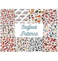 Seafood cuisine seamless patterns vector image