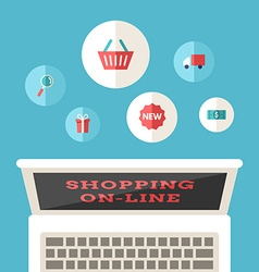 Shopping On-line Flat Design Concept for Web vector image