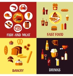 Assorted flat food icons vector image