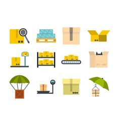 box icon set flat style vector image