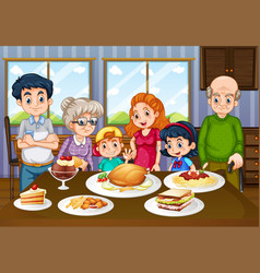 family having meal together in dining room vector image