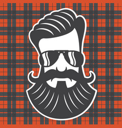 hipster head on plaid background vector image vector image