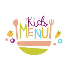 kids food cafe special menu for children colorful vector image