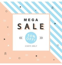 Mega Sale banner with geometric shapes vector image