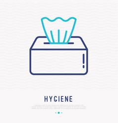 paper napkins in box thin line icon vector image