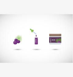 acai berry flat icon set vector image