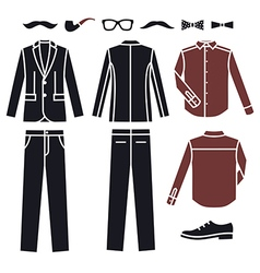 Collection of fashion Mens Clothes icons vector image vector image