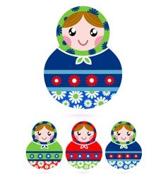 Colorful wooden traditional Russian dolls vector image vector image
