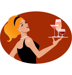 Waitress with drinks vector image vector image