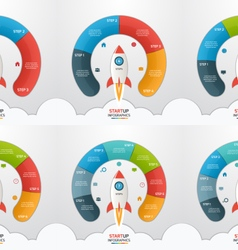3 8 steps startup circle infographic templates set vector