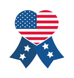 4th july independence day heart shaped vector