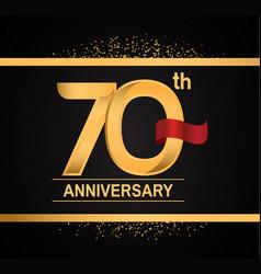 70 years anniversary logotype with premium gold vector