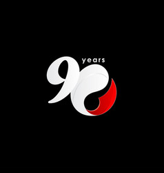 90 years anniversary celebration number red vector