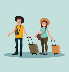 a man and a woman with suitcases vector image