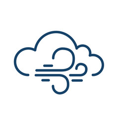 Abstract simple icon windy weather in line art vector