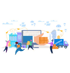 animal characters shopping and express delivery vector image