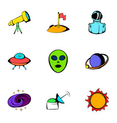 astronomy icons set cartoon style vector image