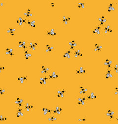 Bee yellow seamless pattern vector