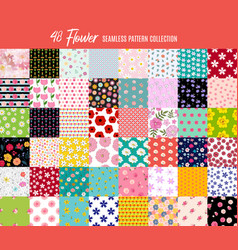 big collection set 48 seamless flowers pattern vector image