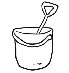 black and white cartoon bucket and spade vector image