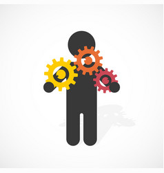 black silhouette of a man holds three gear wheels vector image