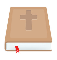 book with a cross on the cover the bible easter vector image