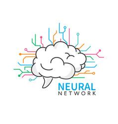 brain logo design neural network logotype vector image