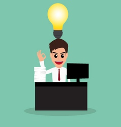 Businessman work hard and have idea vector image