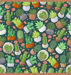 Cactus and succulent plants seamless pattern vector