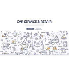 Car service repair doodle concept vector