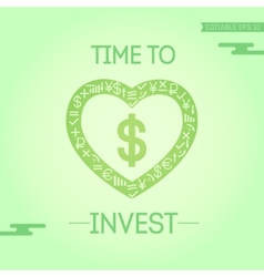 Card with dollar in heart vector image
